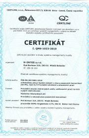 certifikát jakosti ČSN EN ISO 9001 od listopadu 2003