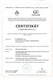certifikát systému bezpečnosti ochrany zdraví při práci BOZP 260 2019