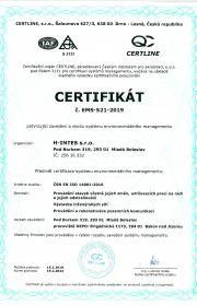 certifikát systému environmentálního managementu ČSN EN ISO 14001 od roku 2004
